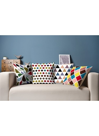 Tezkotekstil Renkli Geometrik 4'Lü Kombin Dekoratif Yastık Kırlent Kılıfı Renkli